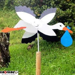 Weathervane for garden Stork with baby blue